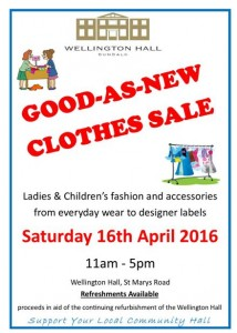 Good as new clothes sale - 16th April - Wellington Hall